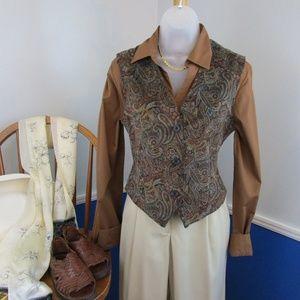 Vintage Tiny Wale Corduroy Paisley Print Vest.
